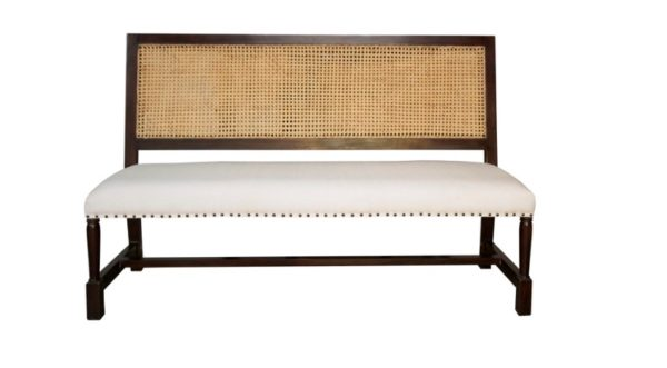 Colonial Caning Bench, Brown- British Colonial Style: Living With Color Designs