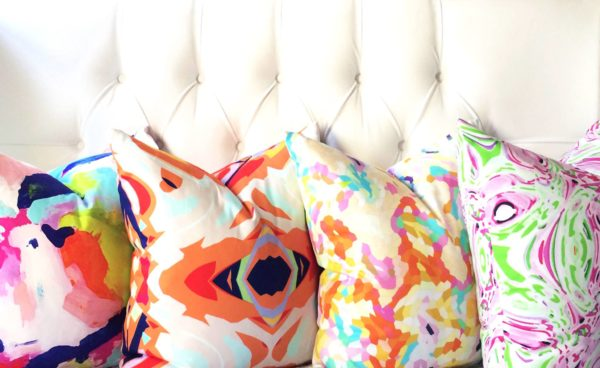 Designer Pillows at the Color Boutique in vibrant colors and abstract designs: From Living With Color Designs.