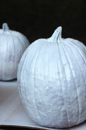 Chinoiserie Pumpkin: Living With Color Designs Blog- DIY pumpkin sprayed with primer