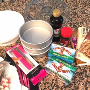 Baking supplies for Birch Bark Cake: Living With Color Designs Blog