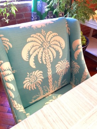 Palm tree design fabric in turquoise: Palm Beach Style