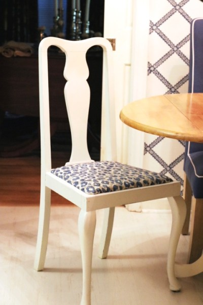 Blue and white leopard print dining chairs- Blue And White Kitchen: Living With Color Designs