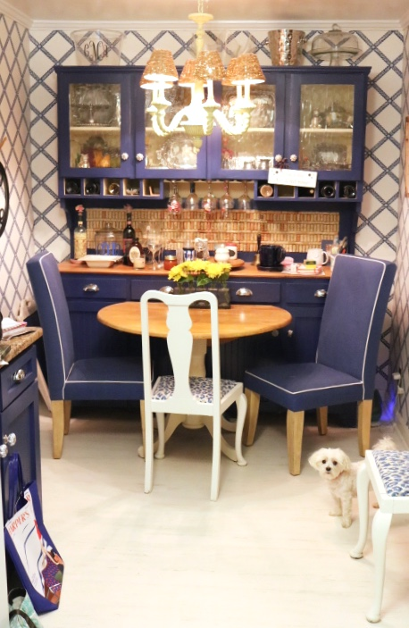 Navy buffet and hutch create a focal point- Blue And White Kitchen: Living With Color Designs