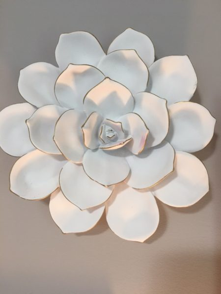 Ceramic peony adds interest and detention to a gallery wall - Blush, Black and Soft Grey Color Palette