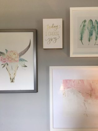 Gallery wall with feathers, horns, and abstract art -Blush, Black and Soft Grey Color Palette