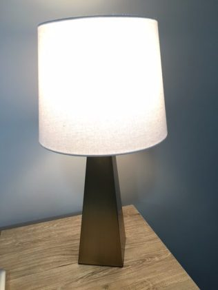 Sleek moden style lamp with gold base and touch control -Blush, Black and Soft Grey Color Palette