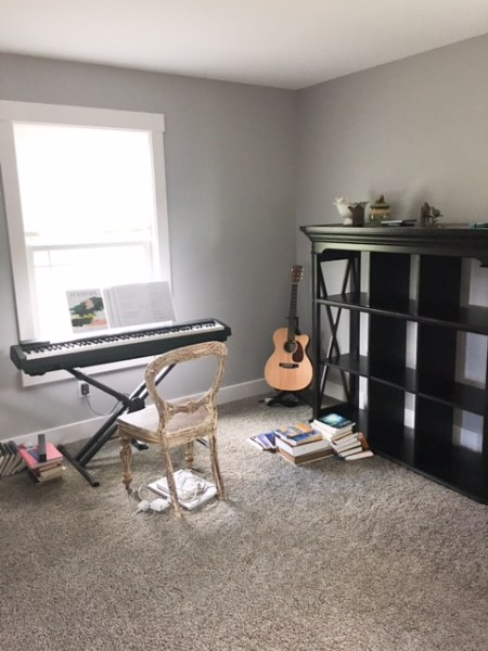 Before picture of this music room/ home office -Blush, Black and Soft Grey Color Palette
