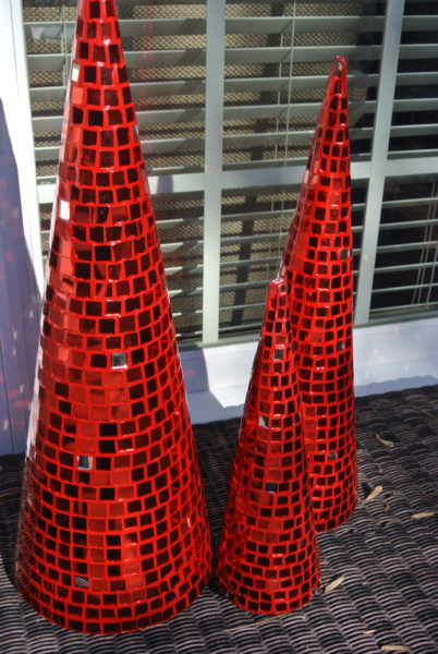 Christmas Decorating Is Easy With Cone Shaped Trees- Red mirrored cone shaped Christmas tree trio