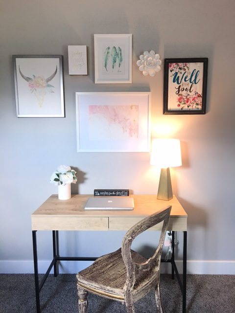 Home office gallery wall- Blush Black and Soft Grey color palette
