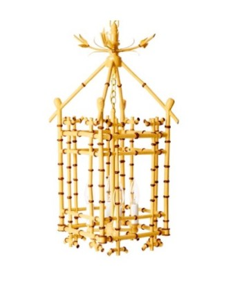 Faux-Bamboo Pendant, Natural - AH HOME