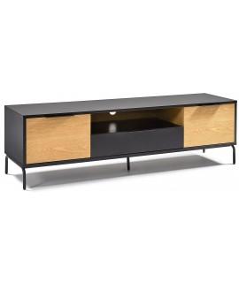 tosca meuble tv 170x45 laque noir mat avec porte en chene et pieds en metal