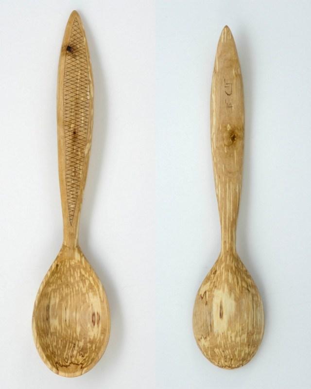 spalted birch kolrosing ladle
