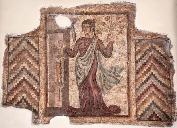 Bishapur, Palace, Mosaic of a lady with flowers