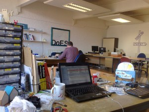 An internal photo of the main DoES Liverpool office room. Just one of the rooms available.