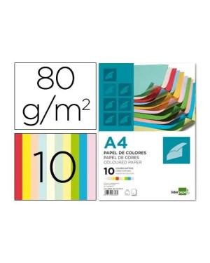 Pack 100 Fls Papel A4 80g 10 Cores LIDERPAPEL