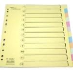 Separadores em cartão A4 – conjunto de 12 separadores