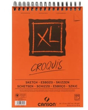 Bloco de desenho A3 XL Croquis Horizontal espiralado 90 gramas – 120 folhas CANSON