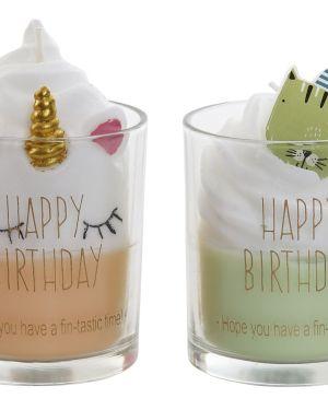 Vela cera vidro Happy Birthday (1 unidade)
