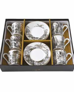 Set 6 chávenas e pratos porcelana Retro Easy Life