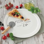 Prato de pizza de porcelana com cortador Easy Life