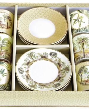 Set 6 chávenas e pratos porcelana Ceylon Easy Life