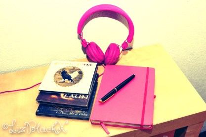 Headphones, CDs, Notebook and fountain pen.  Picture by Liz BlackX as illustration to the text Liz BlackX: Music and Writing