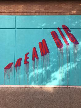 Picture of graffiti art with the words 'Dream Big' as illustration to the text by Liz BlackX on Initiative: When Will I Dare to Dream Bigger?  Photo by Renee Fisher on Unsplash