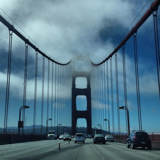 Golden Gate disappearing into fog