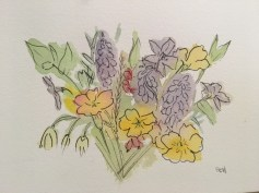 Spring flowers in watercolour