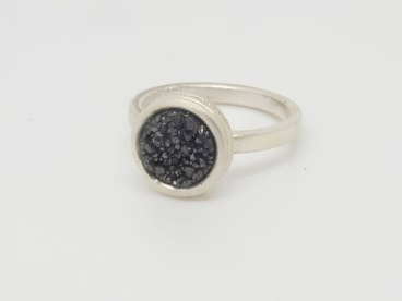 Silver ring with black drusy