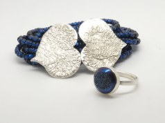 Reticulated silver bracelet with blue drusy ring