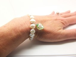 Pearls with a Chinese heart charm