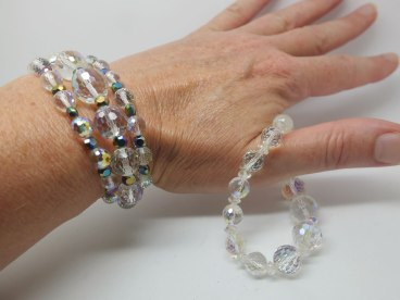 Bracelets made from a broken crystal necklace with Chinese crystals added in