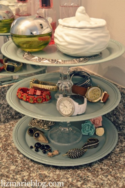 Plates and Candle Holders Make a Great Tiered Tray to Hold Small Stuff in the Bathroom