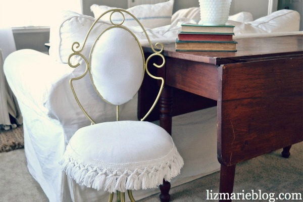Spectacular This chair needed a lot of TLC with that worn out cloud fabric and the blue tassel trim I did decide to keep some of the old style and add some new