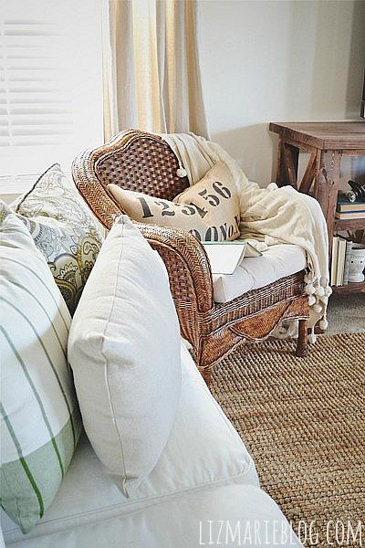 Thrifted wicker chair makeover - lizmarieblog.com