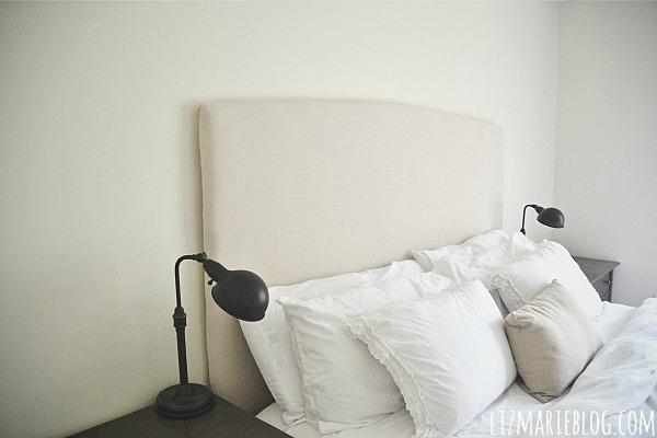 DIY Simple Upholstered headboard with video tutorial - lizmarieblog.com