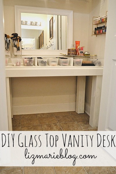 DIY Glass Top Vanity Desk - Directions on how to make your own at lizmarieblog.com