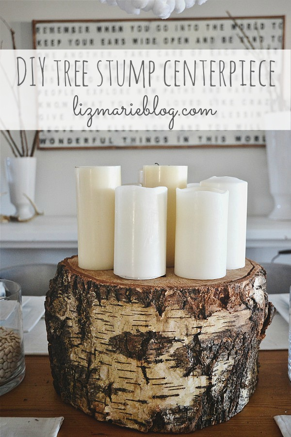 DIY tree stump centerpice