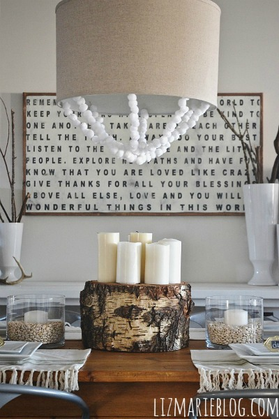 DIY tree stump centerpiece - lizmarieblog.com