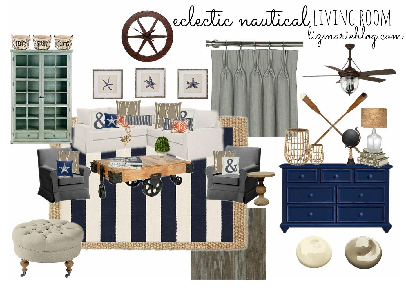 Eclectic Nautical Living Room - Liz Marie Blog