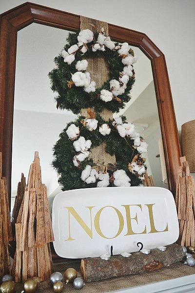 DIY rustic cotton Christmas wreath - lizmarieblog.com