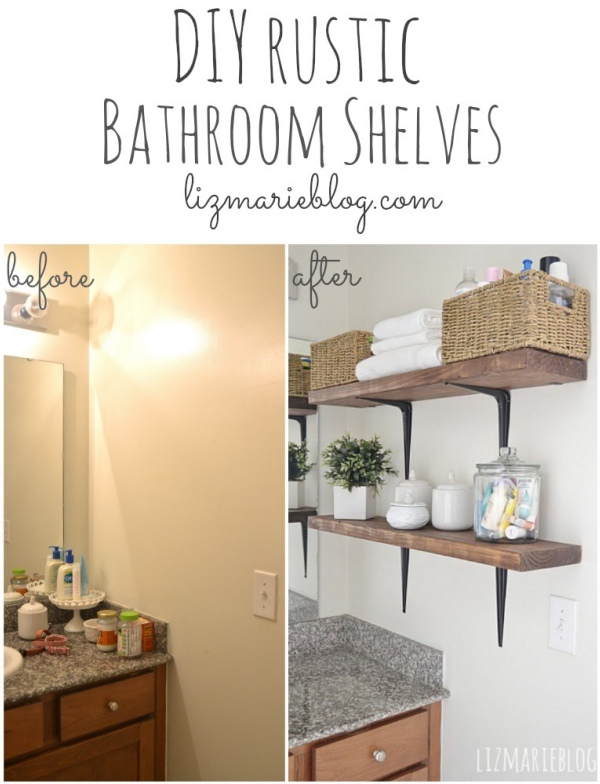Great DIY rustic bathroom shelves So easy lizmarieblog