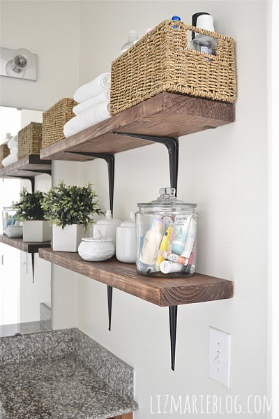 DIY Rustic Bathroom Shelves. So Easy!!   Lizmarieblog.com