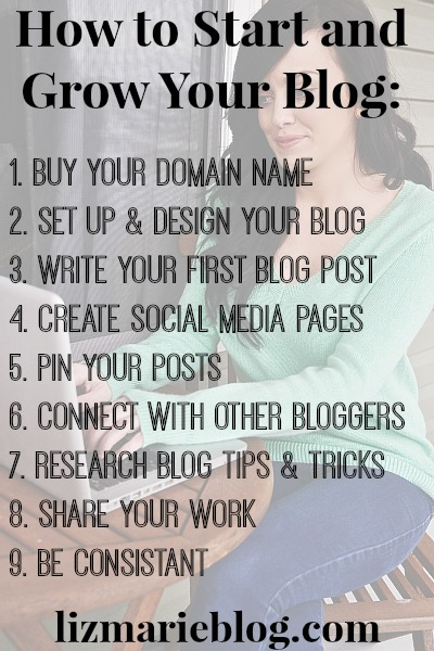 How to start & grow your blog in 10 easy steps! lizmarieblog.com