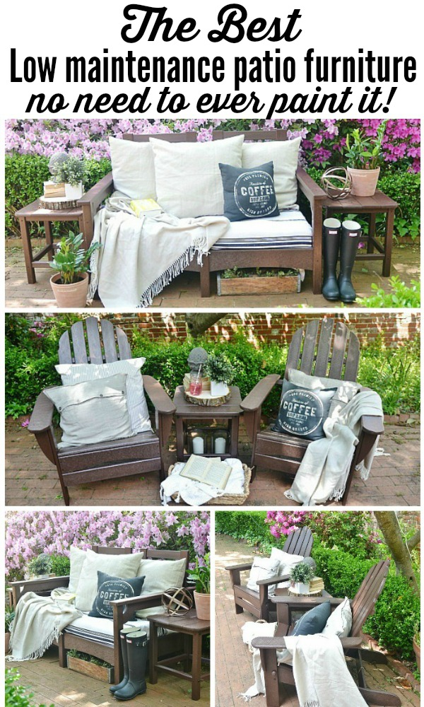 The best low maintenance patio furniture - easy to clean, sturdy, no need to ever paint it, & eco-friendly too!