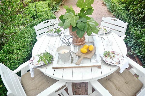 Spectacular Summer patio table with a window table runner u DIY outdoor chandelier lizmarieblog