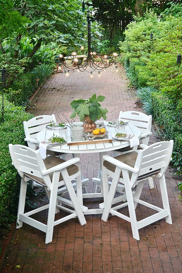 Vintage Summer patio table with a window table runner u DIY outdoor chandelier lizmarieblog