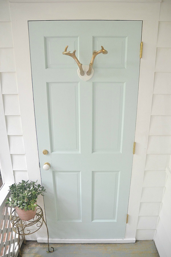 Mint door makeover - Behr Whipped Mint- Lizmarieblog.com