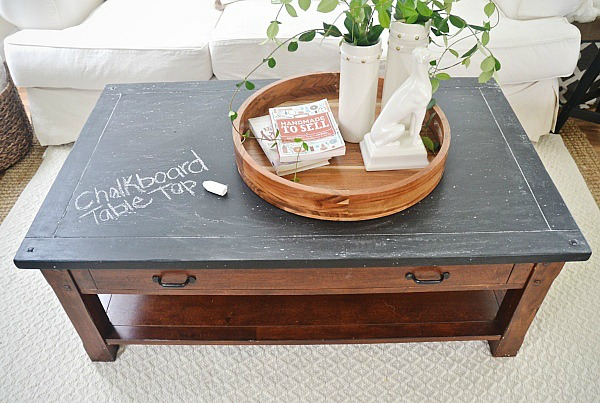 Elegant DIY Chalkboard Top Coffee Table Makeover   Such An Easy Way To Give Any  Table A